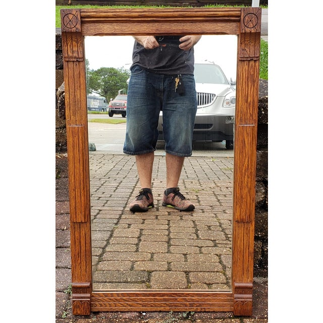 Circa 1900 American Arts and Crafts Movement Mission Oak Wall Mirror For Sale - Image 4 of 4
