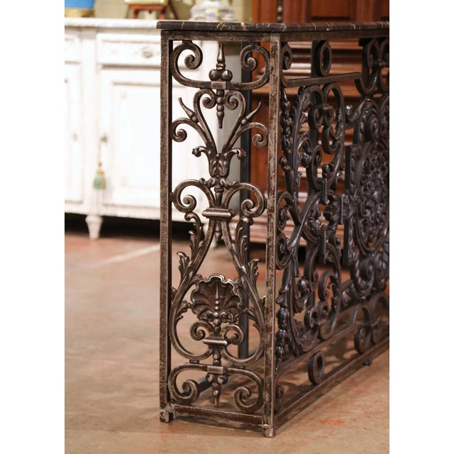 Metal 18th Century French Louis XV Polished Iron Console Table With Grey Marble Top For Sale - Image 7 of 13