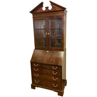 George III Style Flame Mahogany Secretary Desk Secretaire Bookcase For Sale