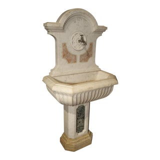 Antique Carved Marble Wall Fountain from Italy, Circa 1850 For Sale