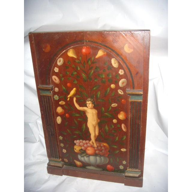 Antique Painted French Wood Panel of Cherub & Fruit & Bird - Image 4 of 11