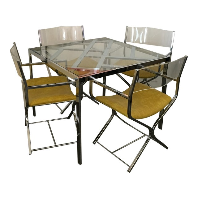 Chrome and Glass Game and or Dining Table and Four Chrome and Lucite Armchairs - Image 1 of 11