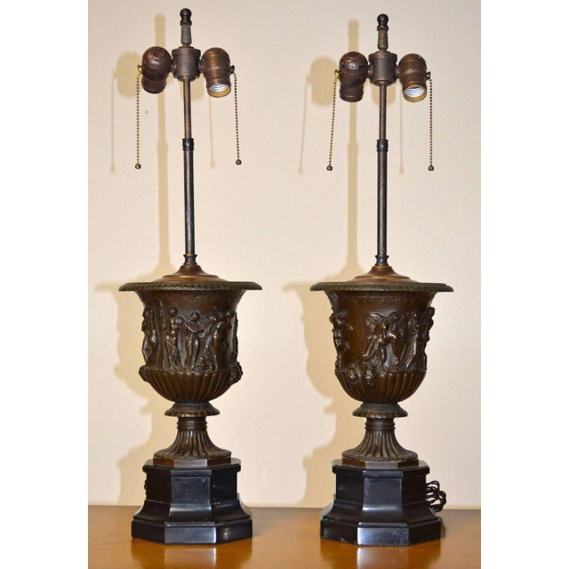 Bronze Pair of Barbedienne Bronze Medici Urn Lamps For Sale - Image 7 of 7