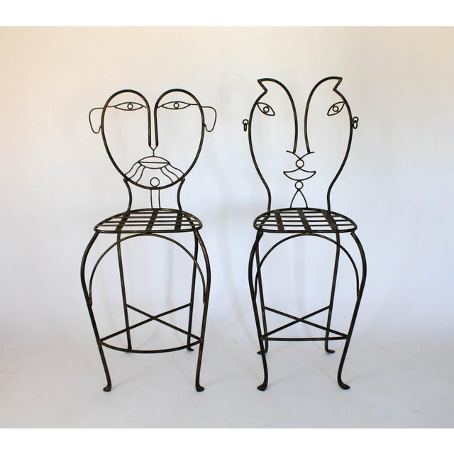 Figurative Figural Iron Chairs in the Style of John Risley For Sale - Image 3 of 13