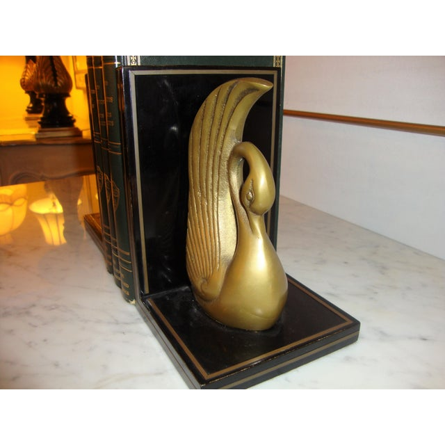 Art Deco Metal Art Deco Swan Book Ends - A Pair For Sale - Image 3 of 7
