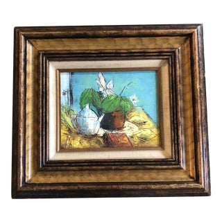 Original Vintage Bernard Buffet Style Abstract Modernist Still Life Painting Vintage Original Frame 1960's Signed For Sale