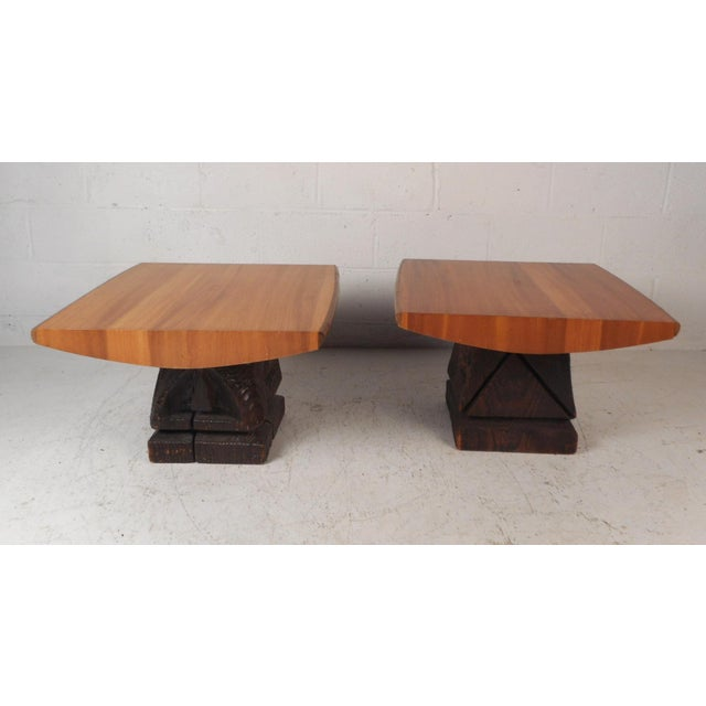 Mid-Century Modern Pair of Midcentury Totem End Tables by Witco For Sale - Image 3 of 13