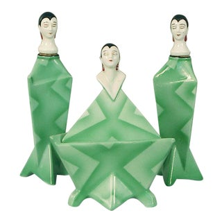 1920s Vintage Bavarian Art Deco Perfume Bottle Vanity Set- 3 Pieces For Sale