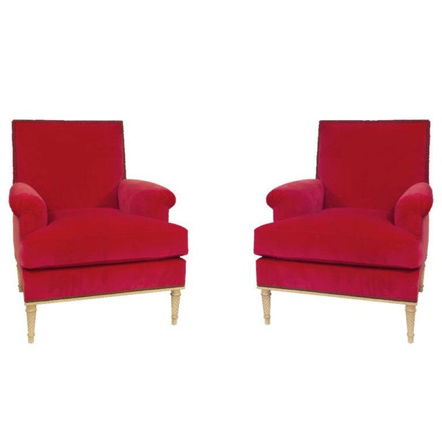 Maison Carlhian A Pair of Louis XVI Style Armchairs by Carlhian, France, C. 1940. Newly Upholstered in a Vibrant Rouge Velvet For Sale - Image 4 of 8