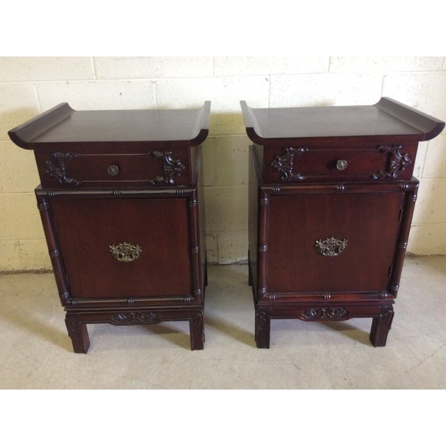 A great pair of rosewood veneer night stands. Wood is a deep cherry or rosewood color. These would be great lacquered in a...