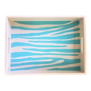 Turquoise Zebra Tray Hand Painted by Christine Frisbee For Sale