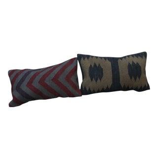 Southwestern Style Kilim Lumbar Pillows - a Pair