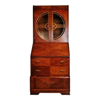 Art Deco Secretary Desk Cabinet With Bakelite Handles