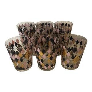 Mid Century Harlequin Pattern Cocktail Glasses - Set of 8 For Sale