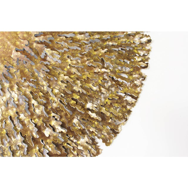 Bronze and gold iron seaweed wall sculpture by Fabio Bergomi. Made in Thailand in 2015. 3 in stock in Palm Springs...