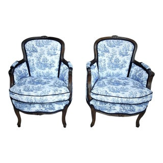 19th Century Louis XV Style Bergeres - a Pair For Sale