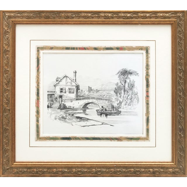 Drawing/Sketching Materials 19th Century French Country Landscape Drawing 1847 For Sale - Image 7 of 7