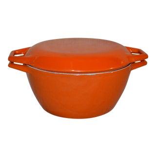 1970s Mid-Century Modern Copco Orange Enamel Cast Iron Pot