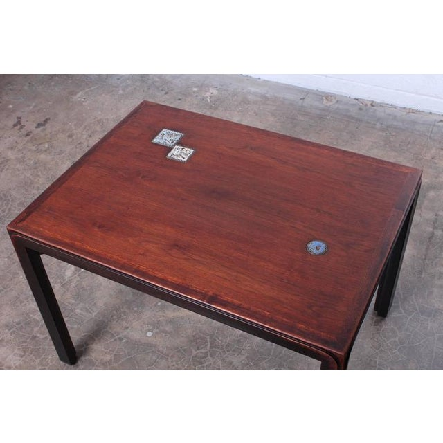 Pair of Edward Wormley for Dunbar Tables with Natzler Tiles - Image 6 of 10
