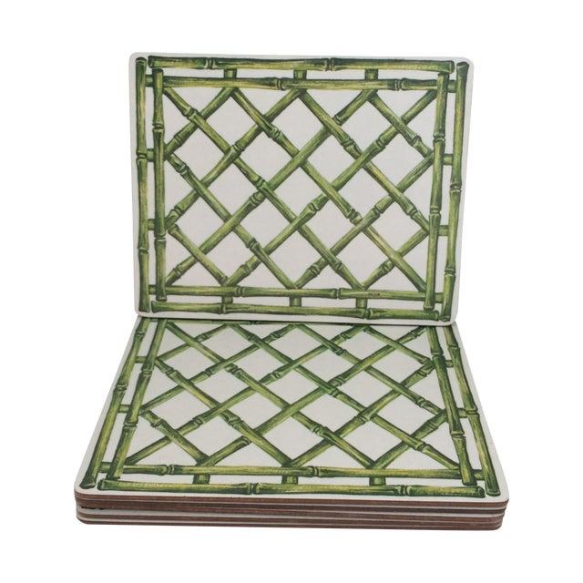 English Melamine Bamboo Lattice Motif Trivets - Image 1 of 6