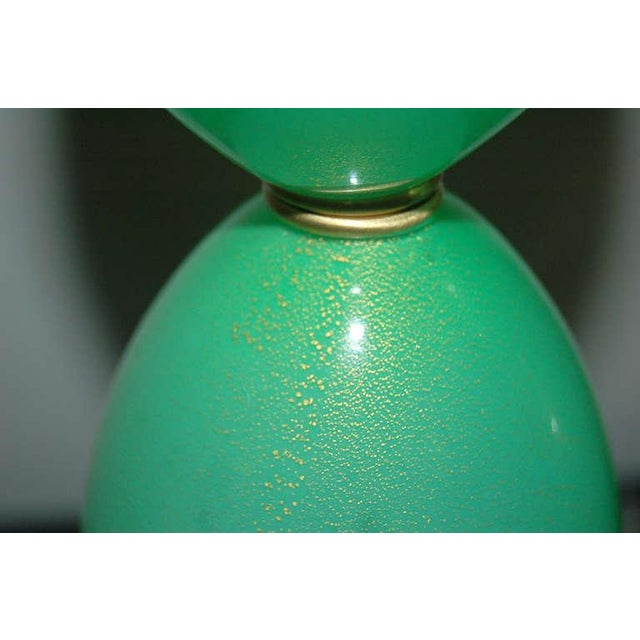 Vintage Murano Glass Egg Table Lamps Green For Sale In Little Rock - Image 6 of 9