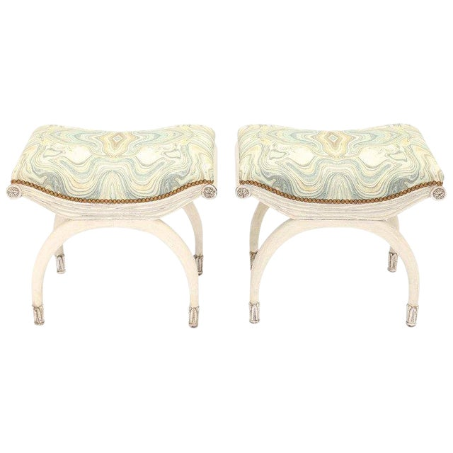 Pair of Painted and Parcel Silver Gilt Curule Stools For Sale