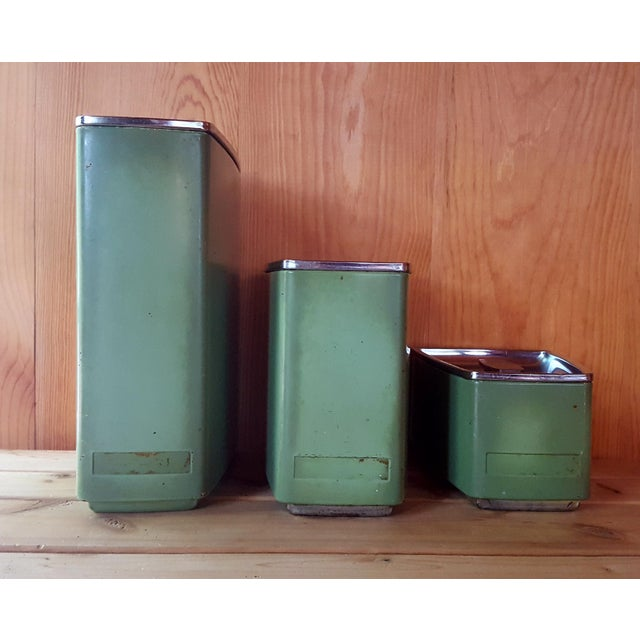 Vintage Avocado Green Kitchen Canister - Set of 3 - Image 3 of 7