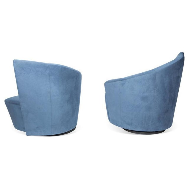 Pair of Bilbao swivel lounge chairs designed by Vladimir Kagan for Weiman preview features comfortable plush seats and...