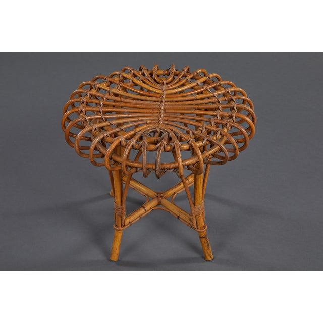Rattan A Petite Pair of Sculptural Rattan Stools For Sale - Image 7 of 10