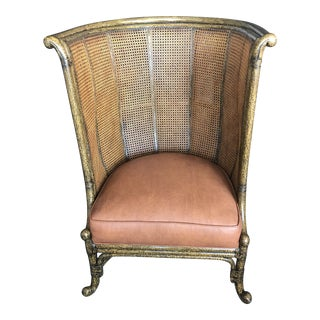 High Back Barrel Cane With Leather Seating Chair