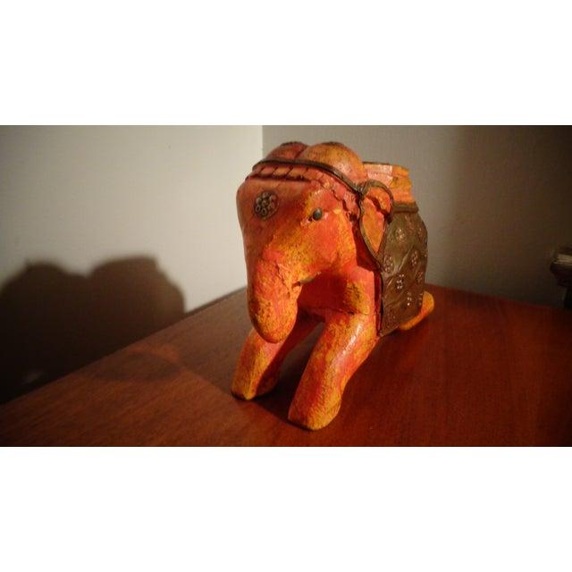 Vintage Orange Wooden Elephant Figurine For Sale - Image 4 of 5