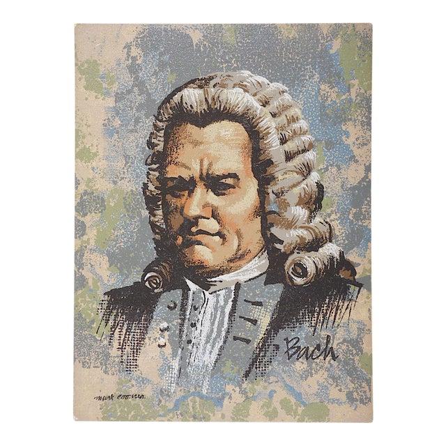Vintage Ltd. Ed. Serigraph-Mark Coomer (Listed American Artist)-Composer Johann Sebastian Bach For Sale