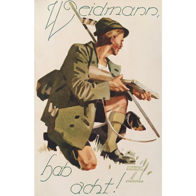1927 German Art Deco Mini Poster, Weidmann Hunting For Sale - Image 5 of 6