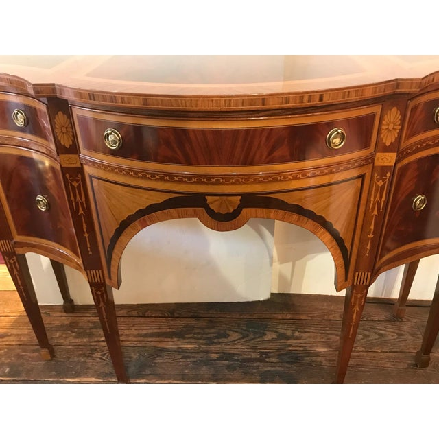 Italian 1980s Italian Colombo Mobili Superb Ornately Inlaid Mixed Wood Console For Sale - Image 3 of 11