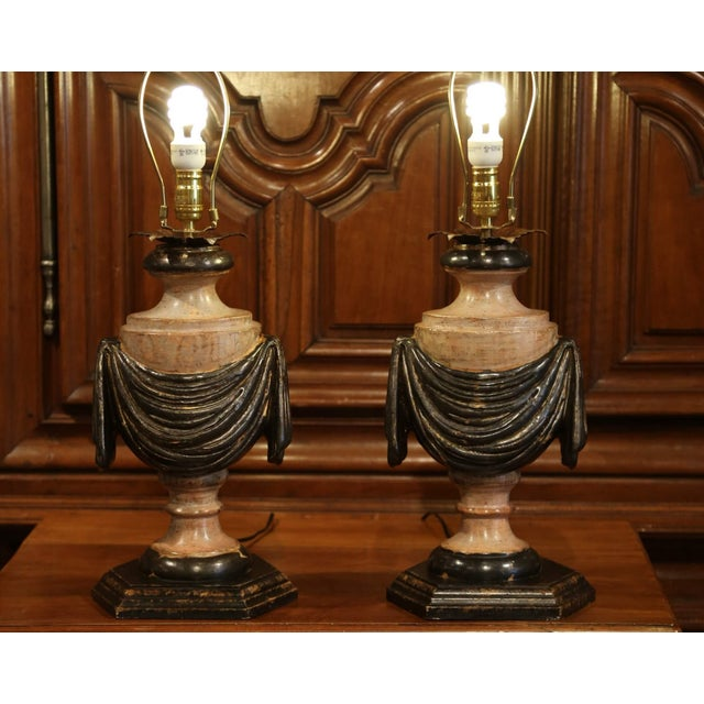 Pair of Italian Carved Lamp Bases With Polychrome Antique Painted Finish For Sale - Image 4 of 12