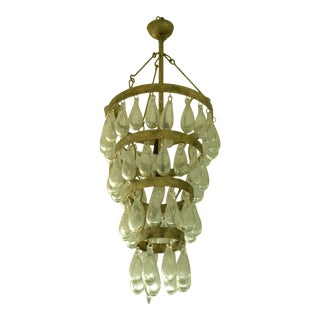 Wrought Iron Drop Hand Blown Art Glass Chandelier For Sale