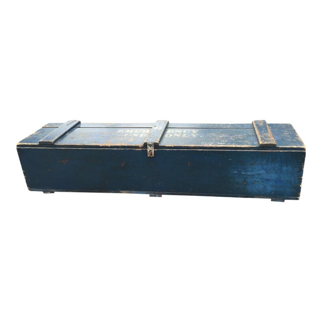 """Blue """"For Emergency Only"""" Stenciled Wood Trunk - Image 1 of 5"""