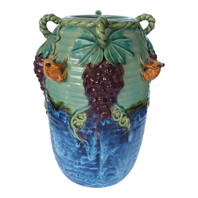 Glazed Majolica Pottery Grapes & Frogs Motif Vase For Sale