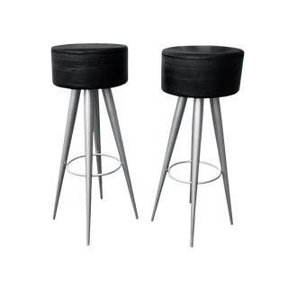 Modern Black Leather Bar Stools Made in Italy For Sale