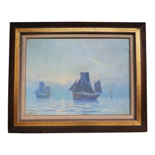 """Henrikus Dekker Oil on Canvas """"Sailboats at Sunrise"""" For Sale"""