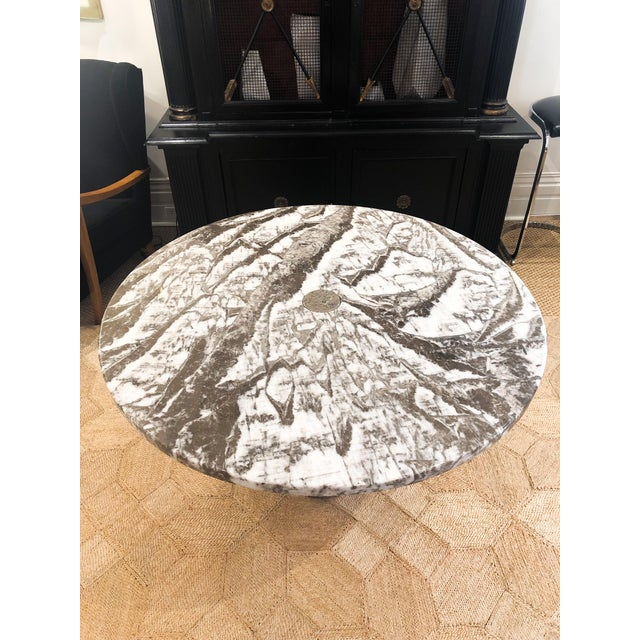 Italian Italian Marble Round Dining Table For Sale - Image 3 of 6