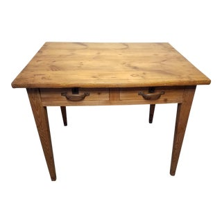 Antique Pine Two Drawer Table/Writing Desk For Sale