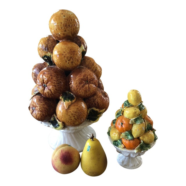 Italian Fruit Orange and Lemon Topiaries With Marble Fruits - 4 Piece Set For Sale