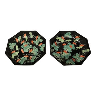 Asian Style Octagonal Decorative Plates - a Pair For Sale