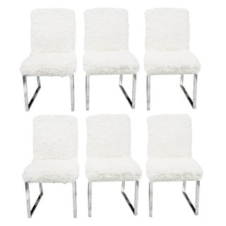 Milo Baughman Faux Sheepskin & Chrome Dining Chairs - Set of 6