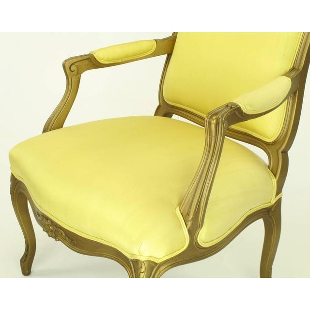 Yellow 1940s Giltwood Louis XV Style Fauteuil with Saffron Silk Upholstery For Sale - Image 8 of 8