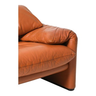 Maralunga Cognac Leather Club Chairs by Vico Magistretti for Cassina For Sale