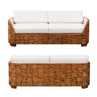 Breathtaking Restored Art Deco Revival Sofa in Rattan Parquetry, Circa 1970 For Sale