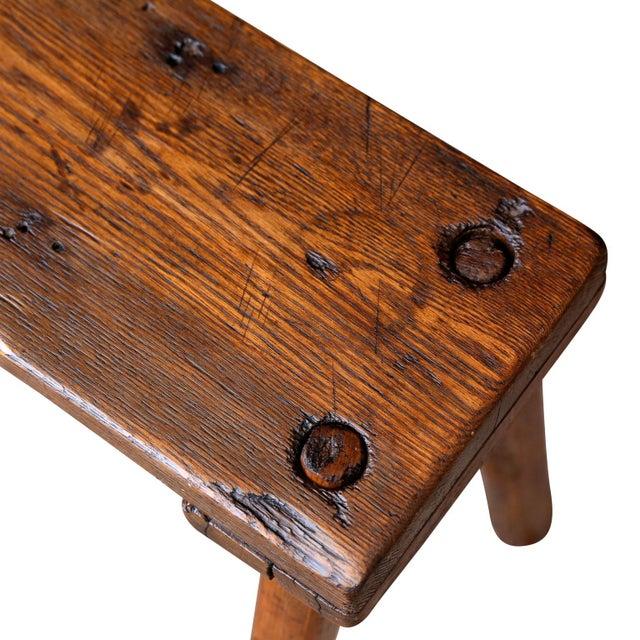 19th Century Primitive Oak Bench For Sale - Image 4 of 10