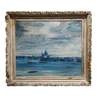 """John Morris """"View of Venice From the Bay """" Oil Painting C. 1940s For Sale"""